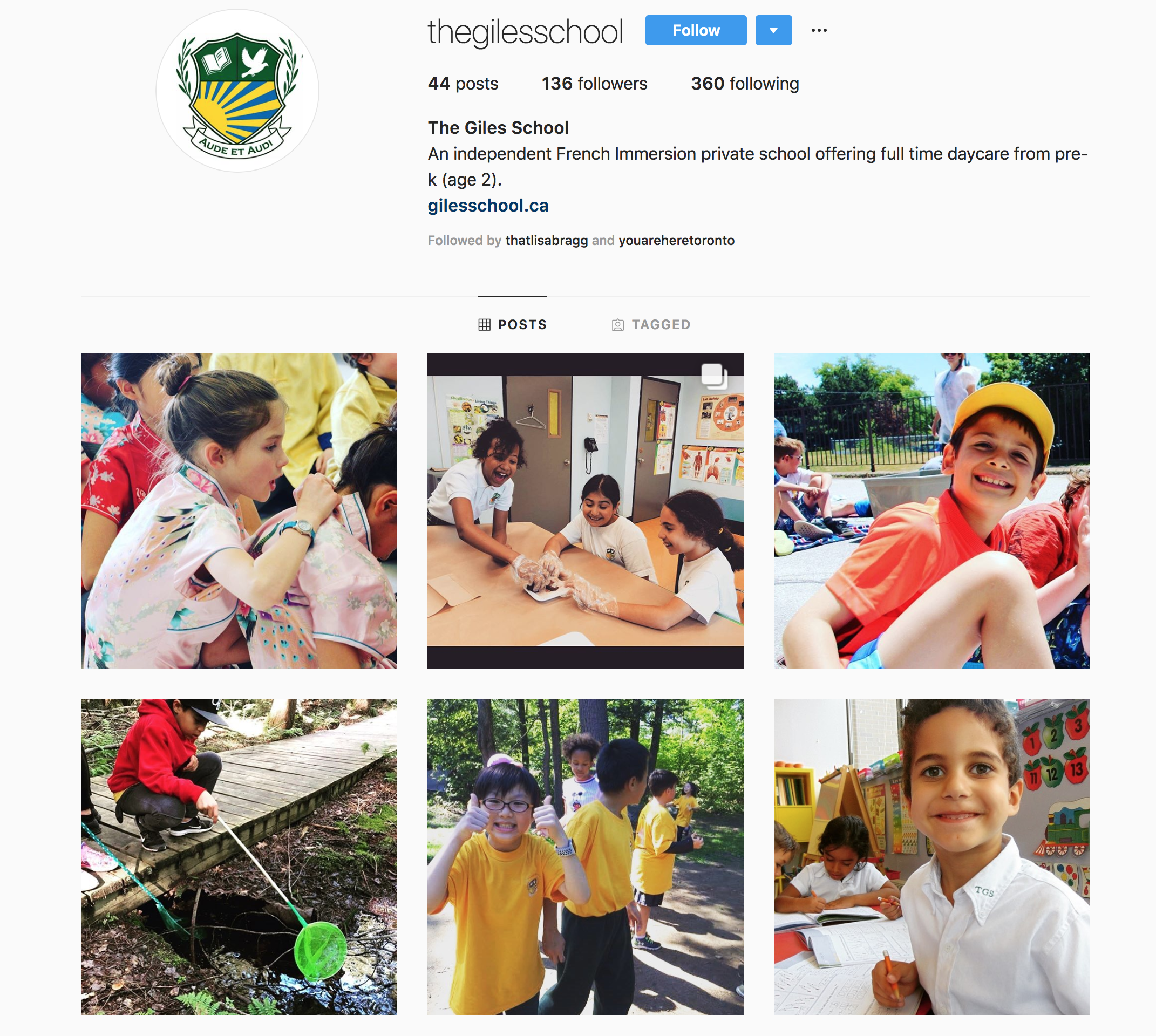The Giles School Instagram feed, populated by posts from the MediaFace social media team.