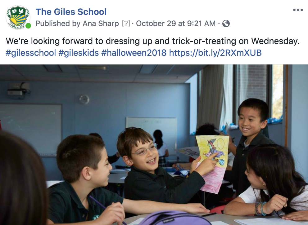 A Facebook post for the Giles School about Halloween, written by MediaFace's social media experts.