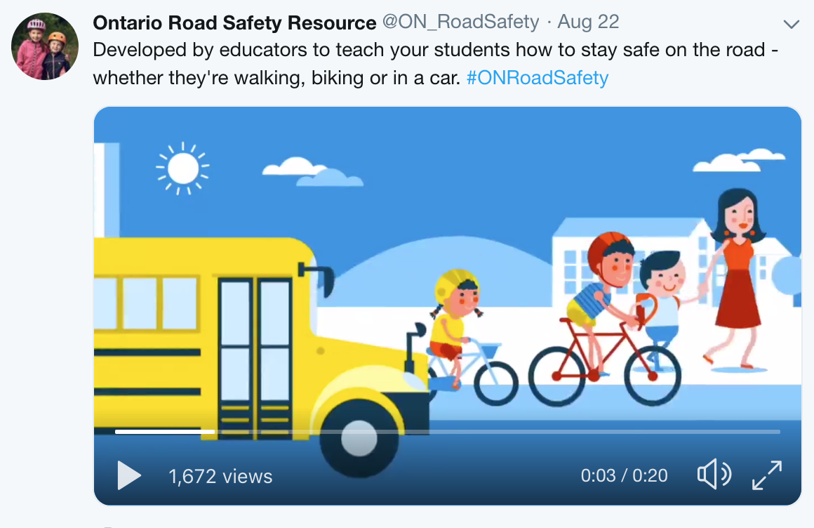 A Tweet from the Ontario Road Safety Resource, written by MediaFace's social media specialists and featuring a video produced by MediaFace.