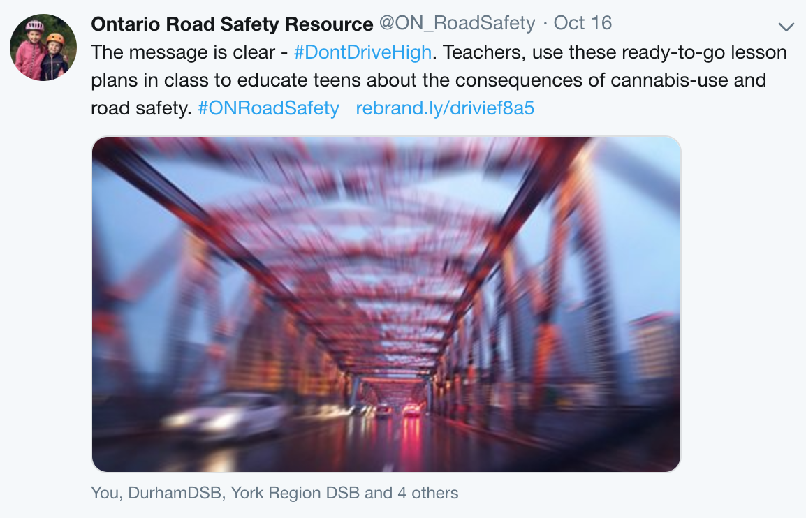 A Tweet from the Ontario Road Safety Resource about not driving while high on cannabis, written by MediaFace's social media specialists.