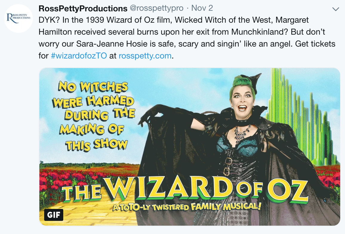 A Tweet from Ross Petty Productions, written by MediaFace's social media specialists.